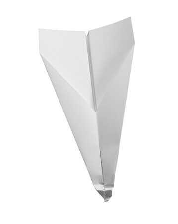 studio photography of a crashed white paper plane   photo