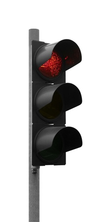 red traffic signal isolated on white photo