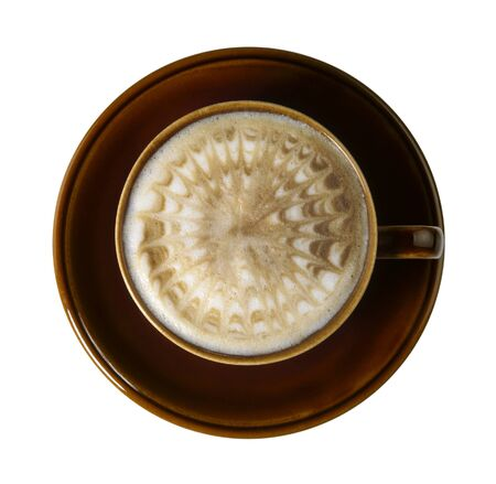 allegory painting: cup of coffee with marbled milk froth, isolated on white with clipping path, seen from above
