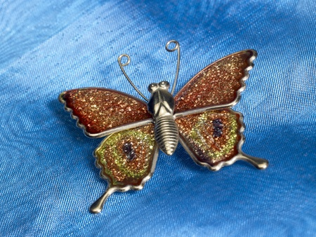accouterment: studio photography of a butterfly-shaped trinket in blue fabrics background