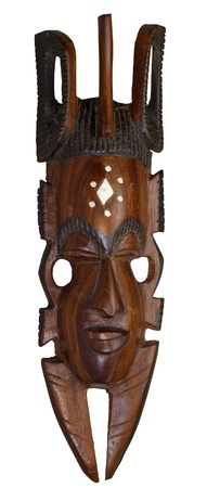 necromancy: studio photography of a wooden african mask isolated on white