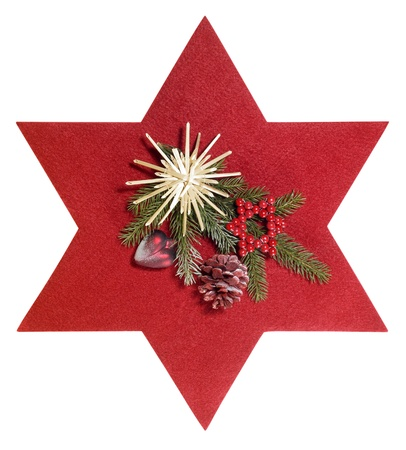 star path: frontal shot of some christmas decoration with red felt star, isolated on white with clipping path