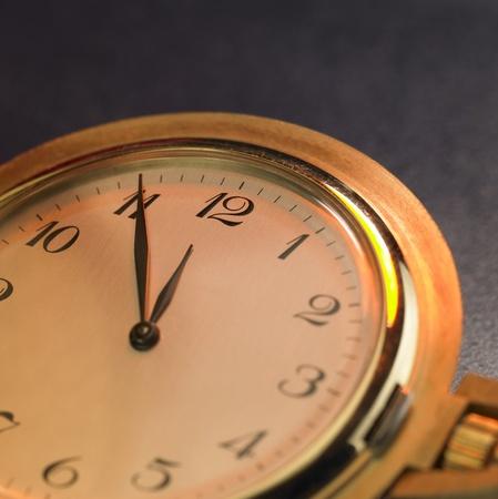 detail studio shot of a of a nostalgic golden pocket watch photo