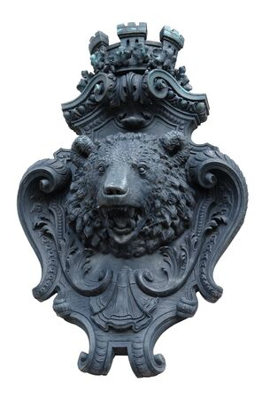 fluting: decorative facade adornment showing the head of a bear in Berlin Germany) isolated on white