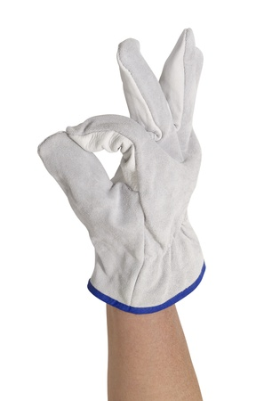 signaling hand gloved with a light grey working glove.Studio shot in white back Stock Photo - 11090332