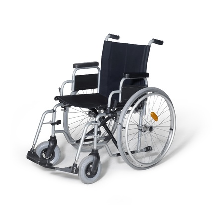 studio photography of a empty wheelchair in white back with shadow Imagens