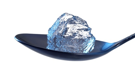 blue illuminated studio photography of a piece of ice located on  a spoon in white back photo