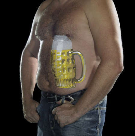 bodypainted belly of a man with beer glass illustration in black back illustration