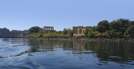 riparian: panoramic view including the Temple of Philae in Egypt (Africa) Stock Photo
