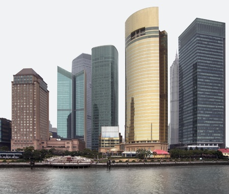 waterside city view of Shanghai in China, seen from Huangpu River Stock Photo - 11095131