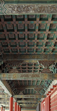 the forbidden city: architectural detail of a building inside the Forbidden City in Beijing (China). The Forbidden City was the imperial palace from the Ming Dynasty to the end of the Qing Dynasty Editorial