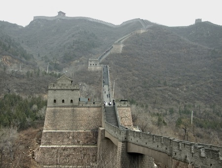 badaling: the Great Wall of China near Badaling in misty ambiance Stock Photo