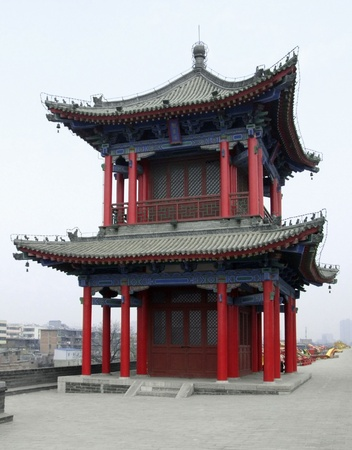 building feature: traditional building upon the city wall of Xian, a city in China Stock Photo