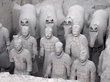 qin: detail of the Terracotta Army in Xian (China)