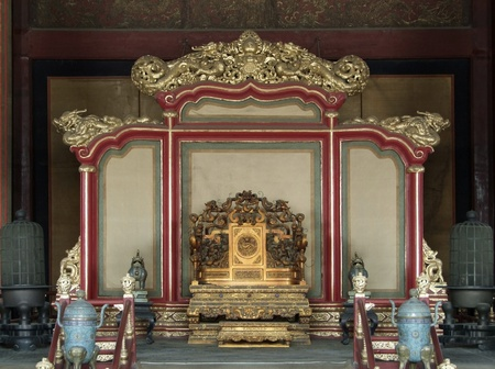 historic throne at the Forbidden City in Beijing (China)