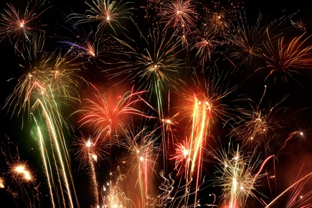 great colorful fireworks display at night Stock Photo