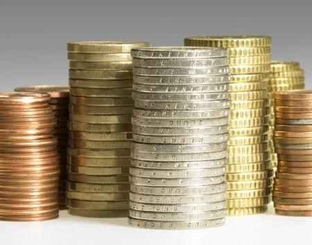 studio photography of euro coin stacks photo