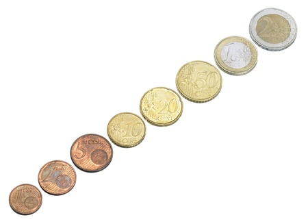 euro coins in a row photo