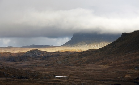 landscape in Scotland with dramatic clouds photo