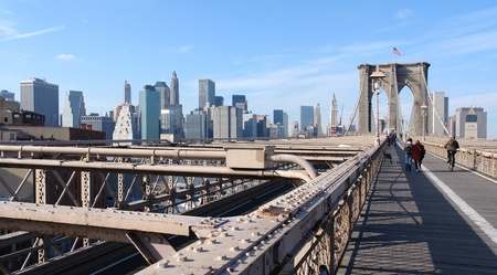 sunny city view of New York (USA) seen from Brooklyn Bridge photo