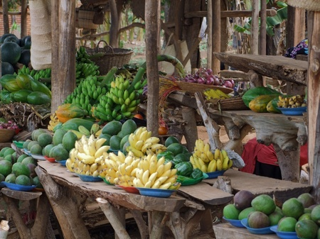 detail of a market in Uganda (Africa) with lots of fruits and vegetables Stock Photo