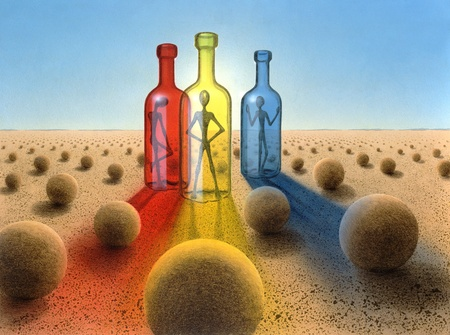 surreal picture painted by me named ,Three Bottles,.Itu00b4s showing three colored glass bottles with alien-like figures inside, a desert ambiance with lots of balls and colored light effects