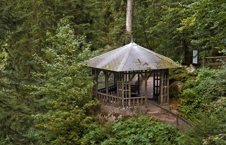 gazebo: scenery around the Triberg Waterfalls in the Black Forest in Southern Germany including a small wooden pavillon