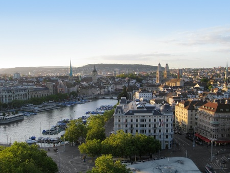 urbanized: city view of Zurich at evening time. Zurich is the largest city in Switzerland, located in the canton of Zurich.