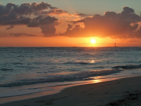 caribbean climate: beach with sunset at the Dominican Republic, a island of Hispanola wich is a part of the Greater Antilles archipelago in the Carribean region