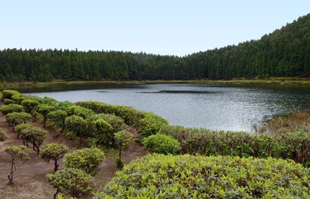 agriculture azores: lakeside scenery at Sao Miguel Island