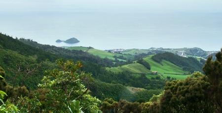 hilly coastal scenery at Sao Miguel Island photo