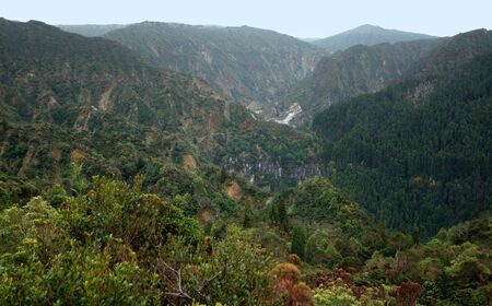 agriculture azores: rocky panoramic scenery at Sao Miguel Island Stock Photo