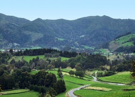 agriculture azores: hilly panoramic scenery at Sao Miguel Island