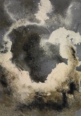 wavily: picture painted by me, named Abstract Sand, it shows a cloud-like eruptive sand structure in imagine wide back