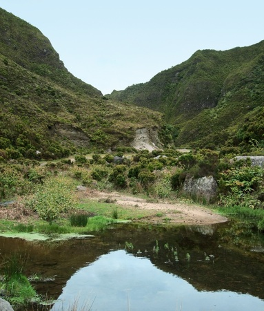 riparian: hilly waterside landscape at Sao Miguel Island