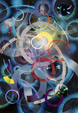 abstract picture painted by me, named Circles. It shows a collage of various colorful circles, disks and ring shapes photo