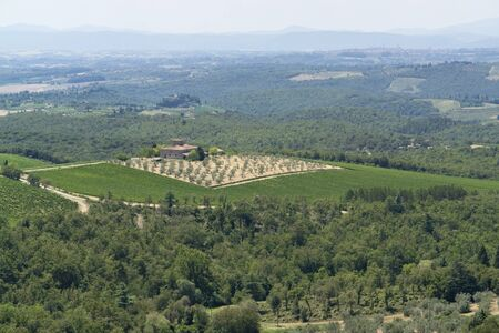 scenery around Gaiole near Castle of Brolio in the Chianti region of Tuscany in Central Italy photo