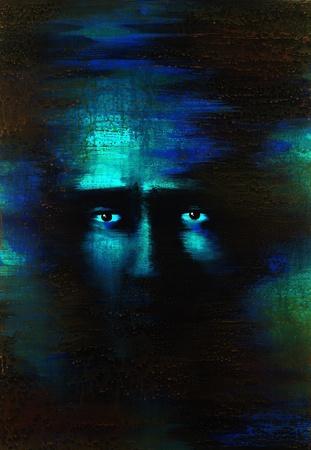 """n�vrose: tableau peint par moi nomm� """"� l'esprit X�, il montre une paire d'yeux craintifs � l'arri�re bleu et vert fonc�"""