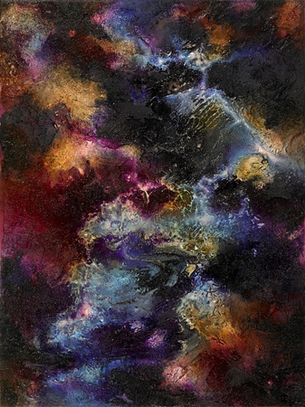 spacy picture painted by me, named Colorful Surface, showing great abstract structures and colors on a rough surface photo