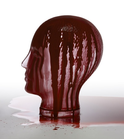 synonym: generic human dummy head made of glass, overwhelmed with red fluid in gradient light grey back Stock Photo