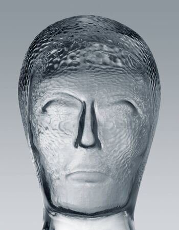 profile shot of a generic human &quot,dummy&quot, head made of glass in gradient  grey back Stock Photo - 11096822