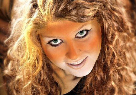 portrait of a bodypainted cute girl photo