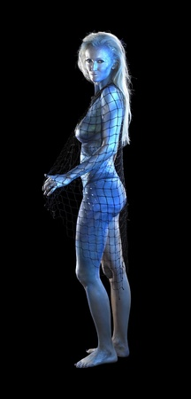 mystic mermaid theme showing a bodypainted woman with fishing net, studio photography in dark back photo