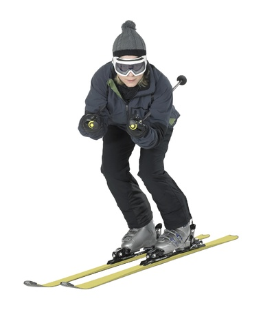 whole body shot of a dark dressed skiing girl isolated on white photo
