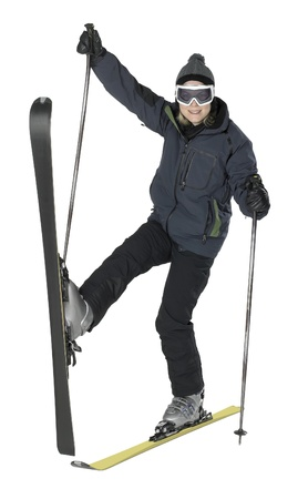 specific clothing: whole body shot of a dark dressed skiing girl in strange posture, isolated on white Stock Photo