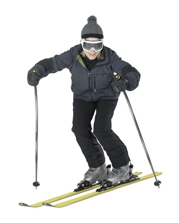 specific clothing: whole body shot of a dark dressed skiing girl isolated on white