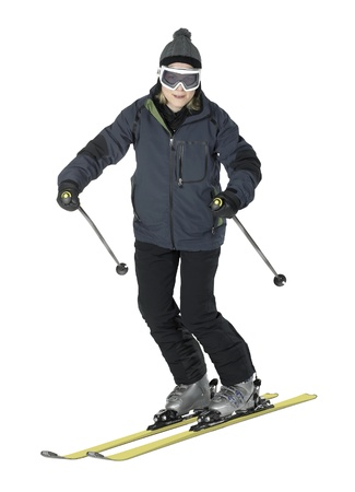 specific clothing: whole body shot of a dark dressed smiling girl while skiing, isolated on white Stock Photo
