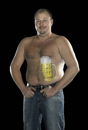 studio photography of a posing man with painted beer glass on his body in dark back photo