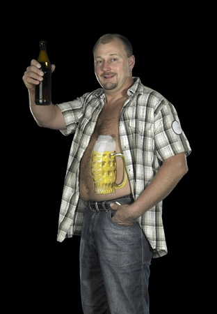 studio photography of a man with painted beer glass on his body while raising a beer bottle, in dark back photo
