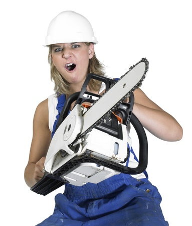 Studio photography of a thuggish blond girl dressed in a blue boilersuit with chain saw, isolated on white Stock Photo - 11399162